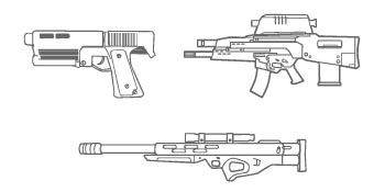 Weapons: Alyx Gun, OICW and Sniper Rifle.